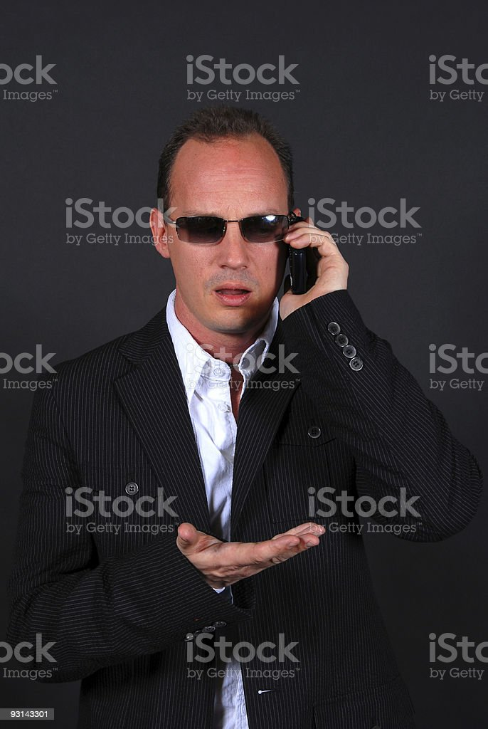 Disbelief on the Mobile Phone stock photo
