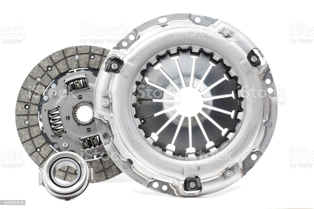 Disc and clutch basket with release bearing stock photo