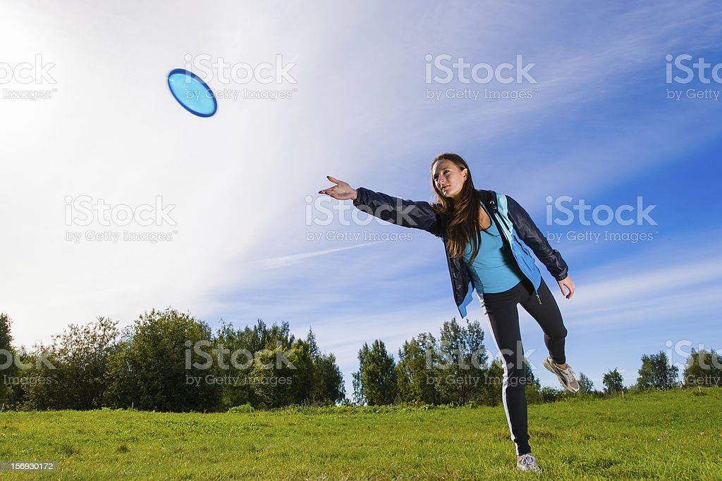 Disc and woman stock photo