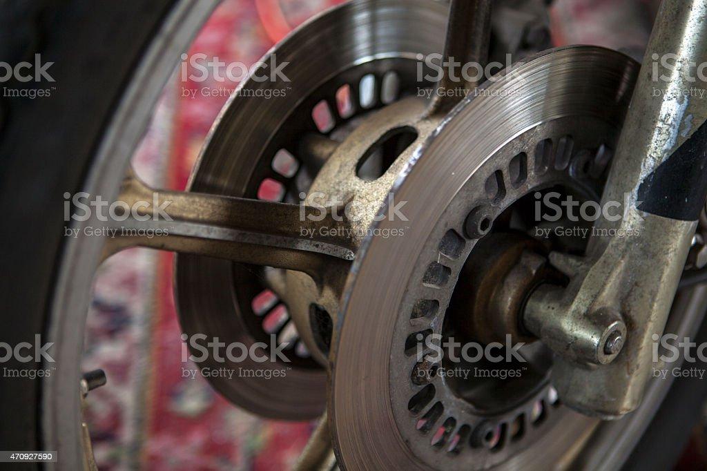 Disc brake motorcycle, stock photo