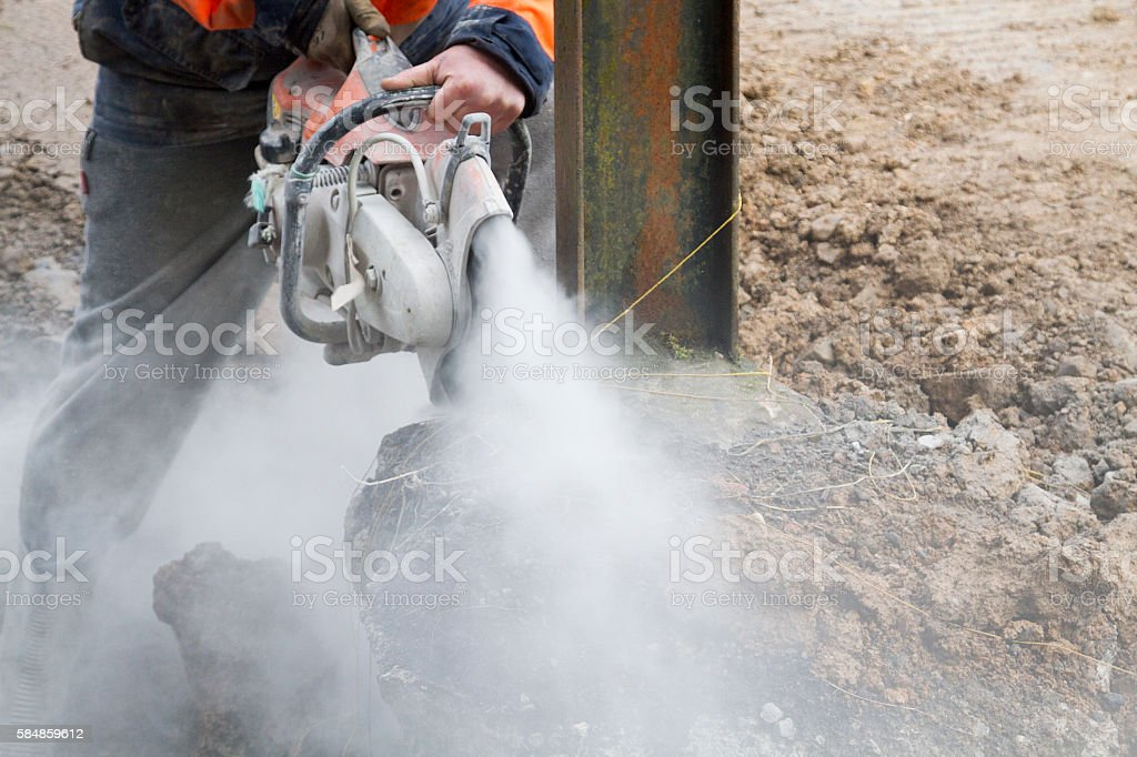 Disc Cutter in motion stock photo