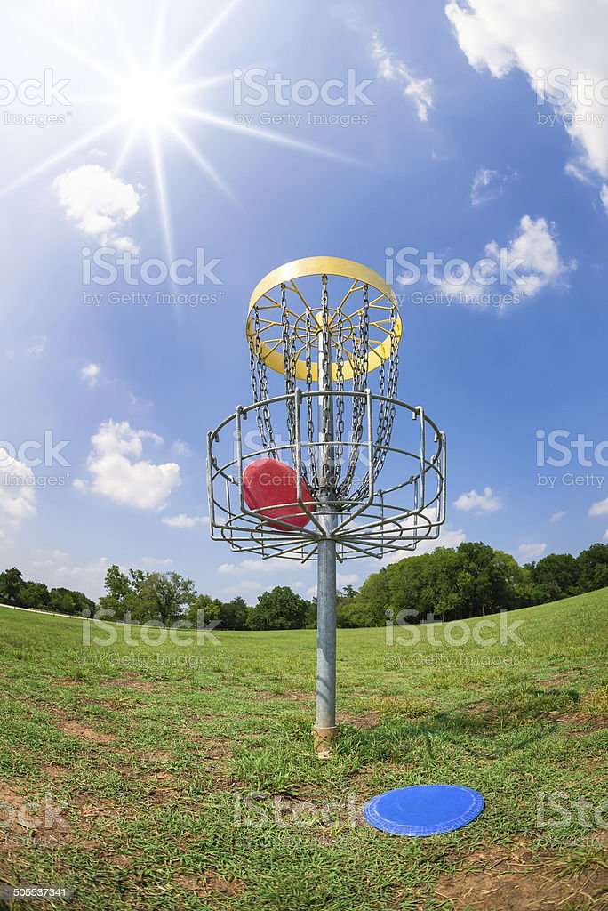 Disc golf basket stock photo