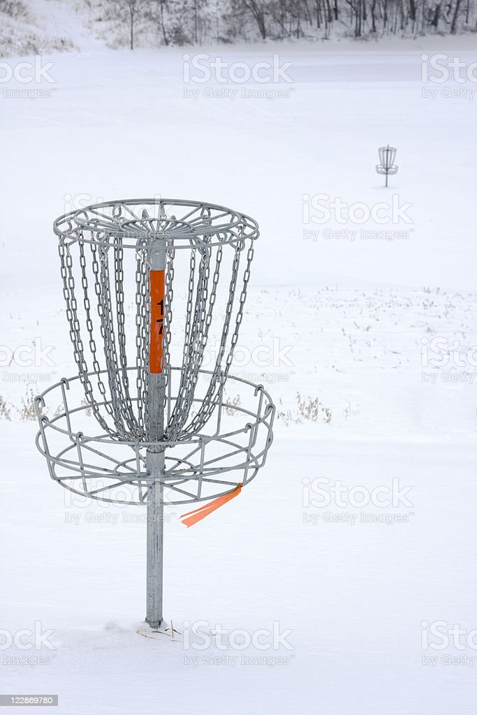 Disc Golf Course In The Snow stock photo