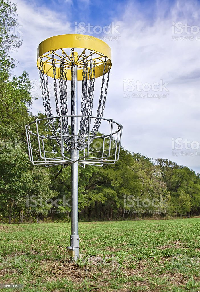 Disc golf hole stock photo