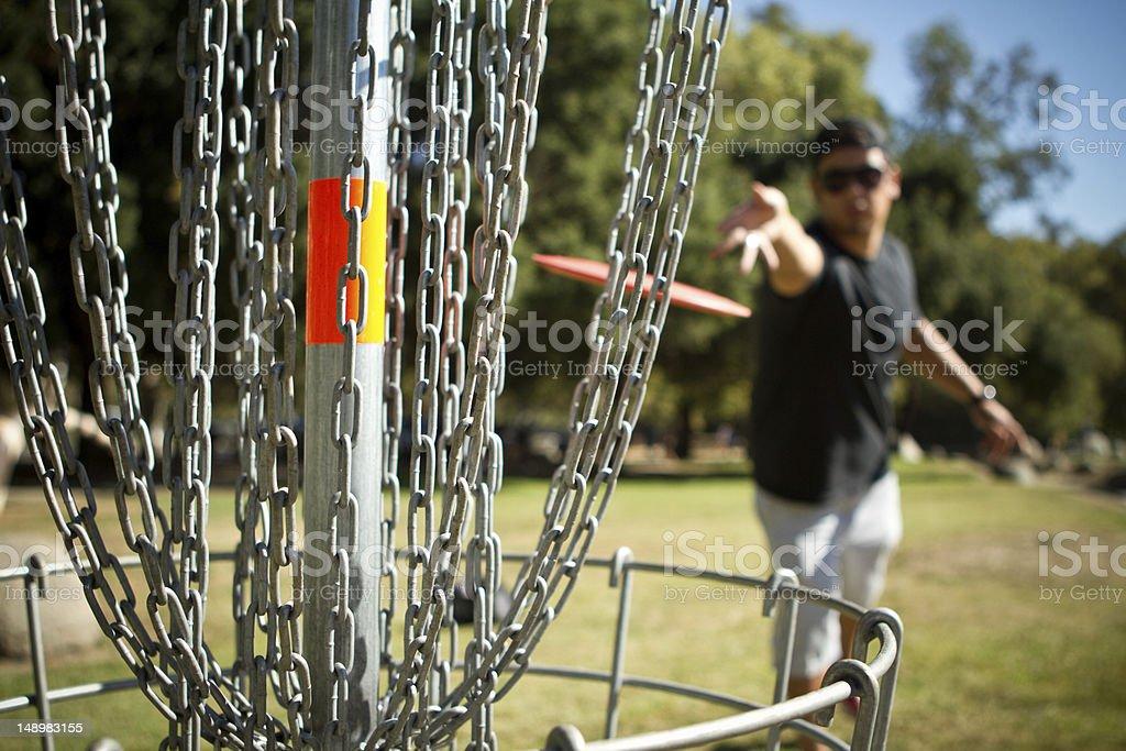 Disc golf putt shot. stock photo