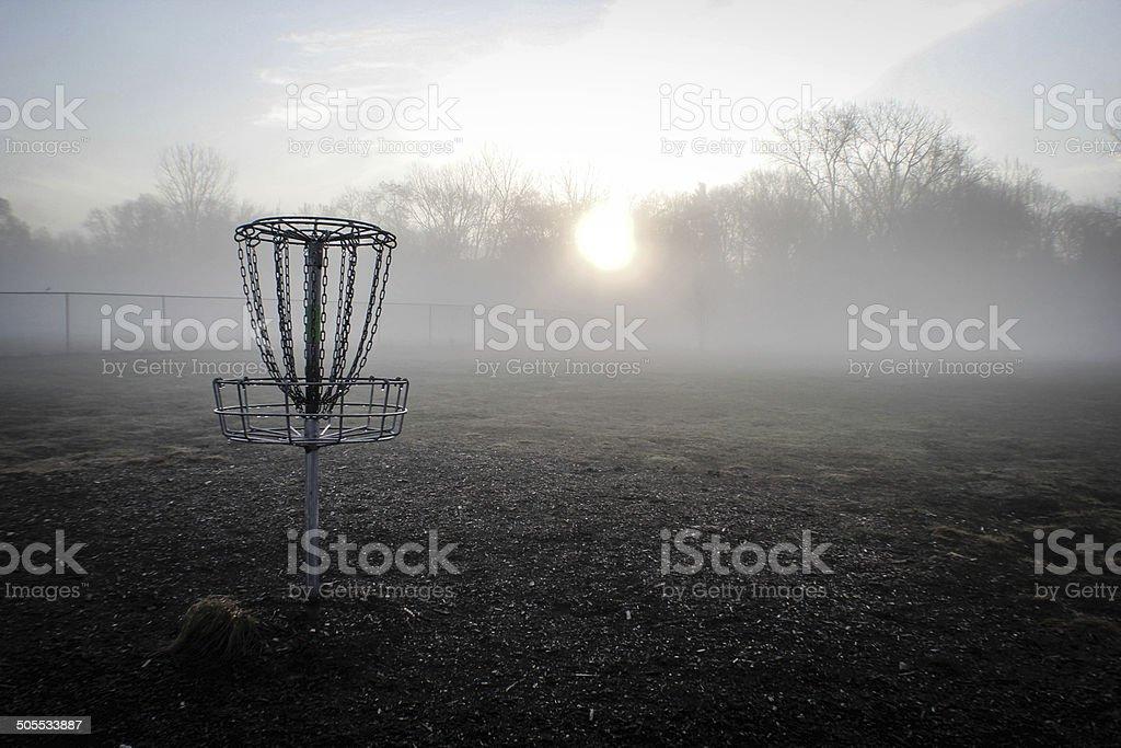 Disc Golf Sunrise stock photo