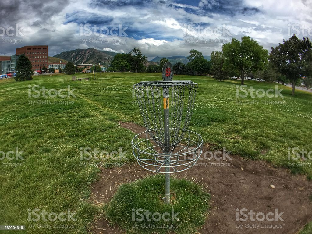 Disc Golf Target Basket stock photo