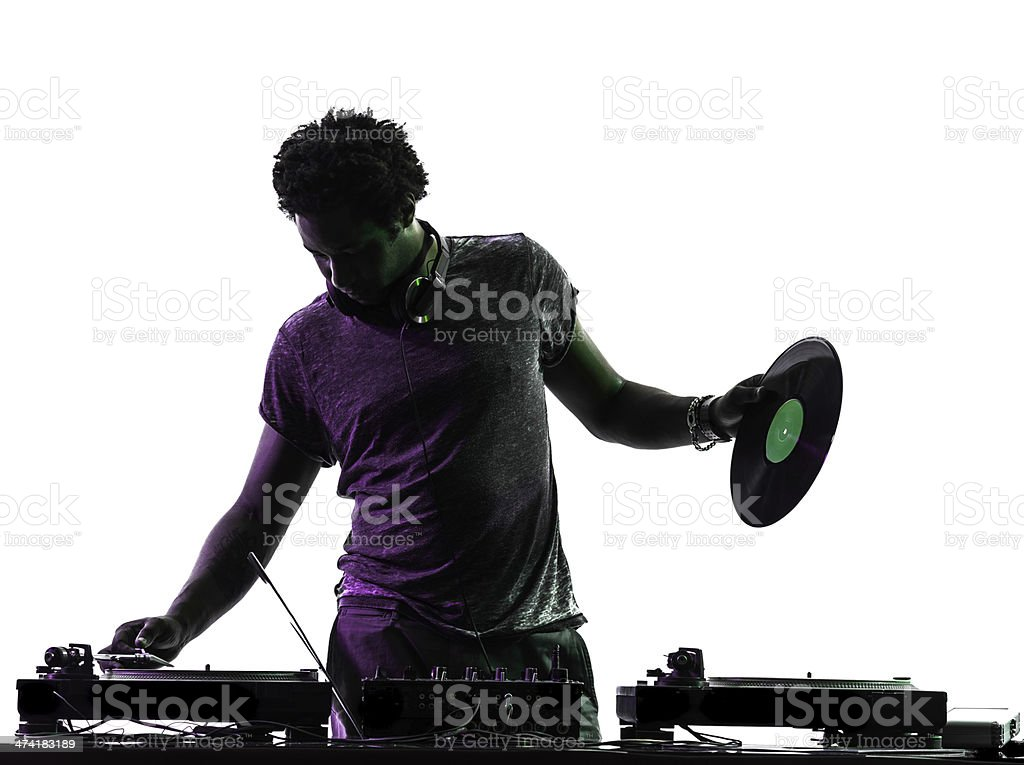 disc jockey man silhouette stock photo