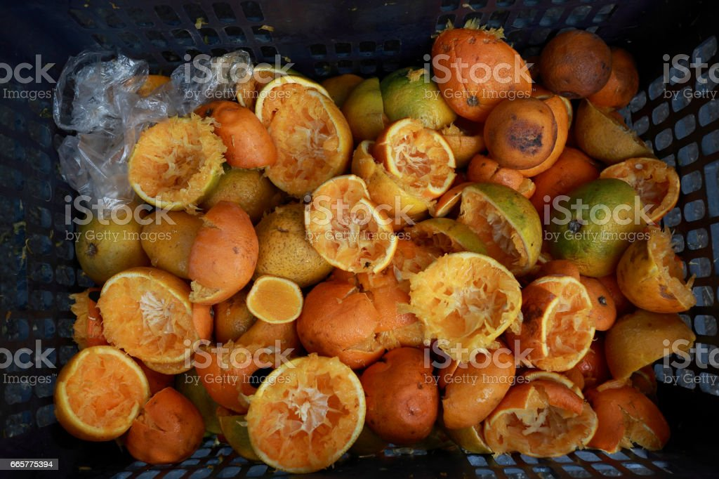 Discard many of the organic food oranges stock photo