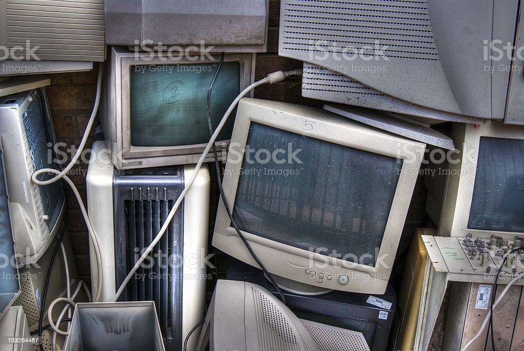 Discarded CRT monitors stock photo