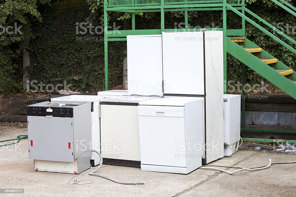 Discarded Dishwashers at local recycling center royalty-free stock photo