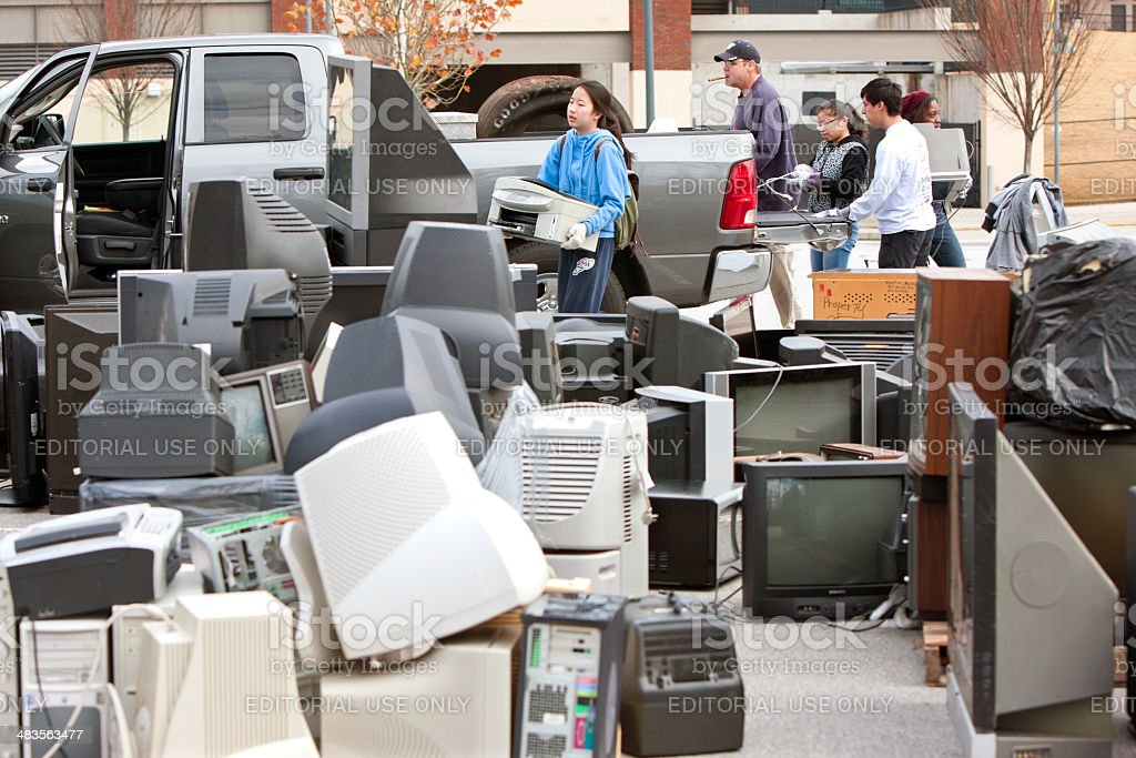 Discarded Electronics Pile Up At County Recycling Event stock photo
