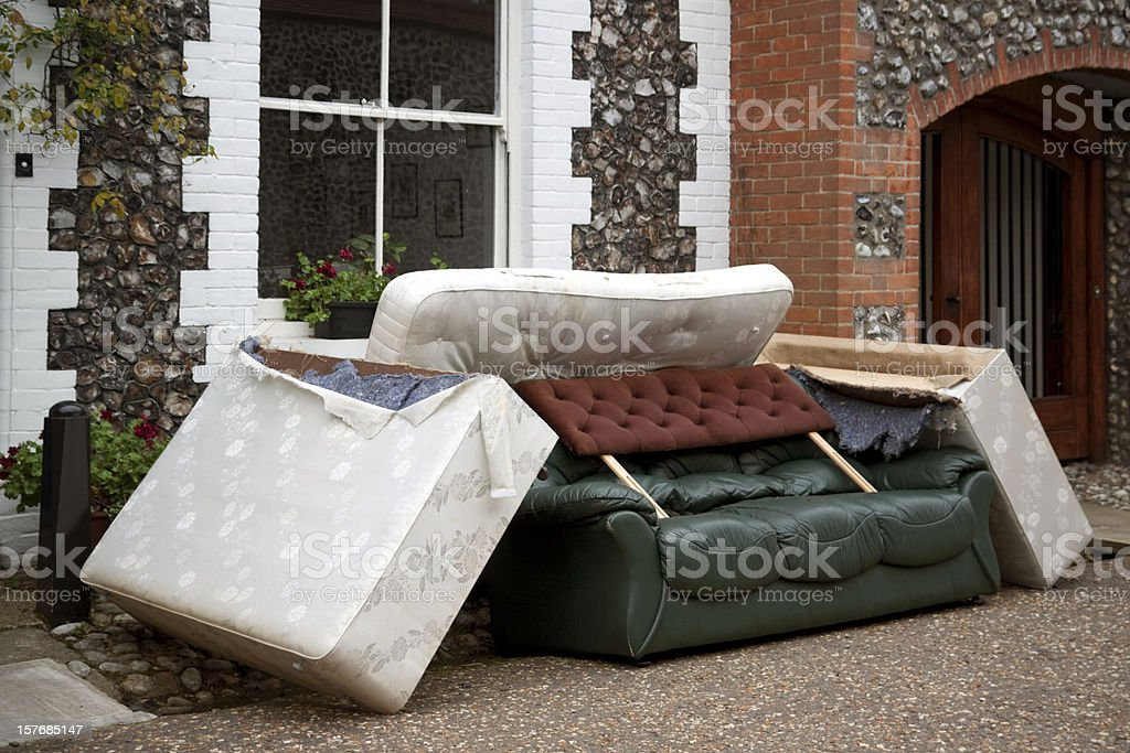 Discarded furniture stock photo