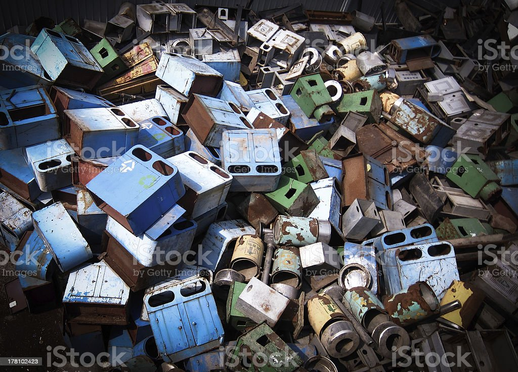 Discarded garbage can royalty-free stock photo