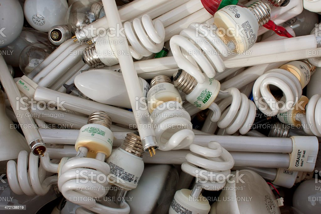 Discarded Light Bulbs Fill Box At Recycling Event stock photo