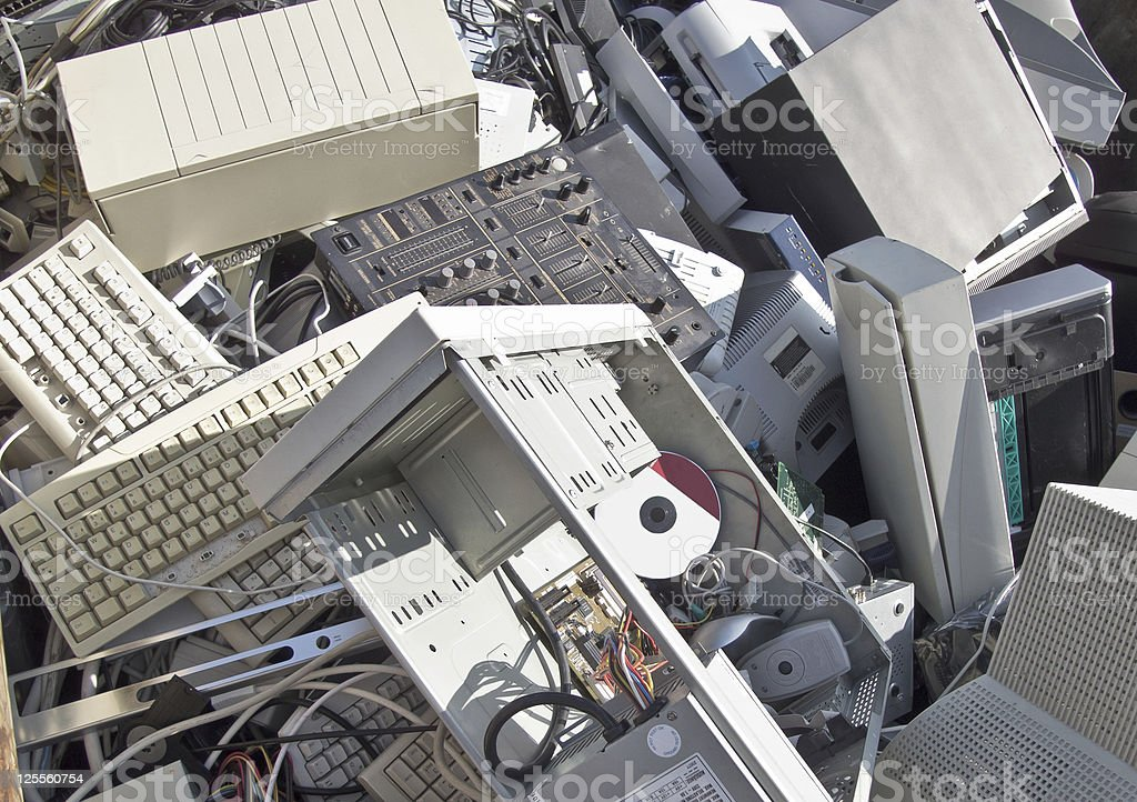 Discarded obsolete electronic waste stock photo