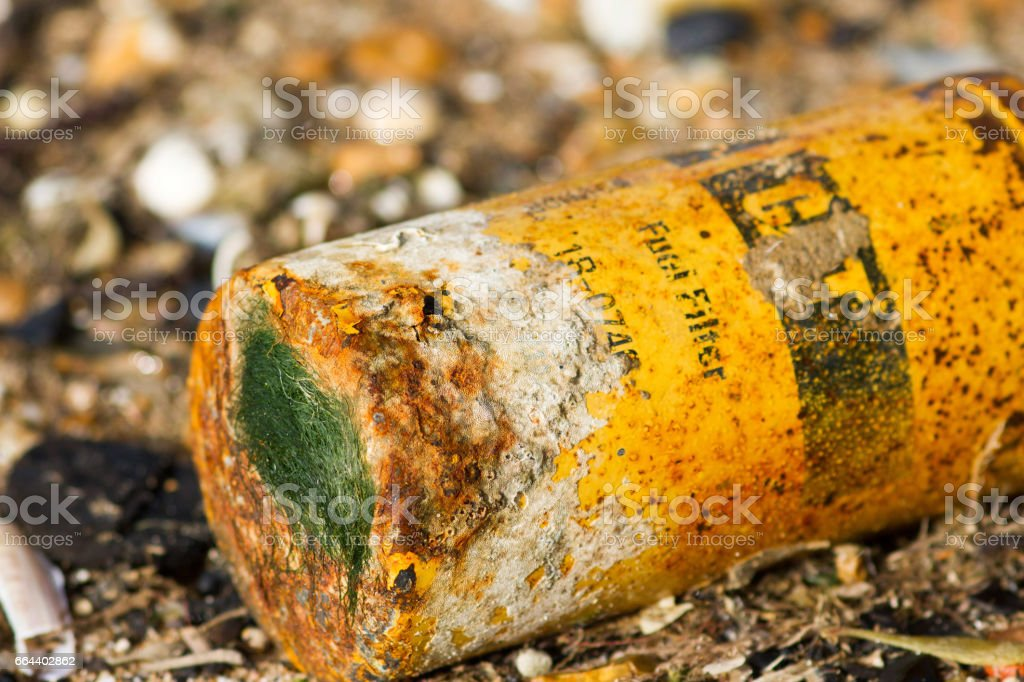 Discarded oil can stock photo