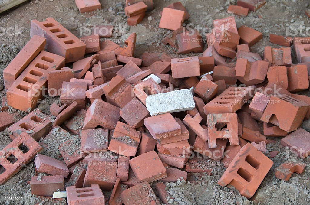 Discarded Red Bricks stock photo