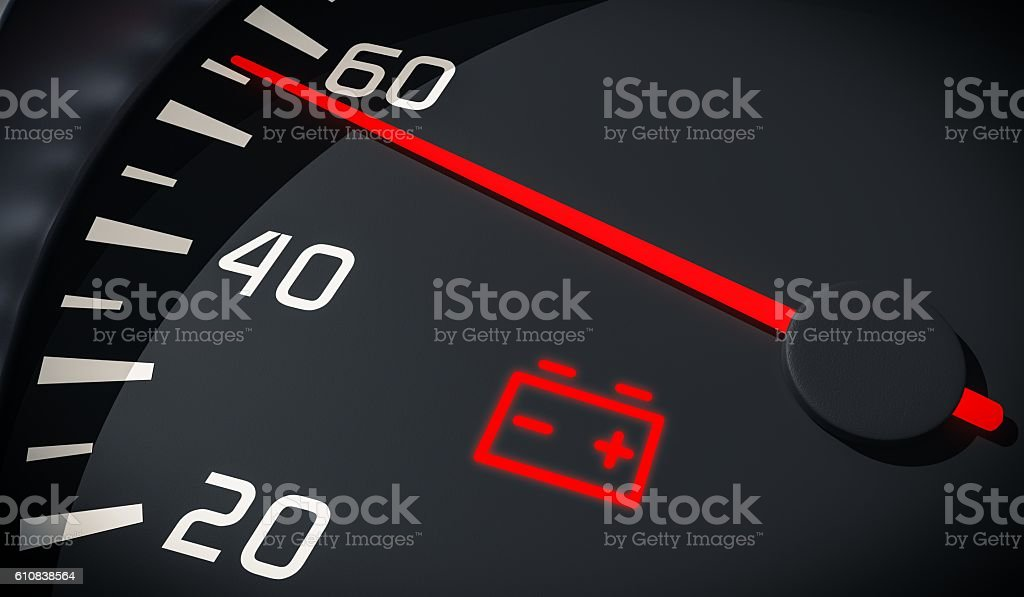 Discharged battery warning light in car dashboard. 3D rendered illustration. stock photo