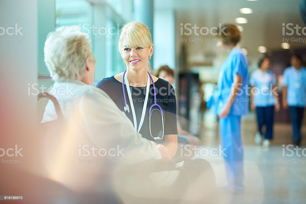 discharging from hospital stock photo