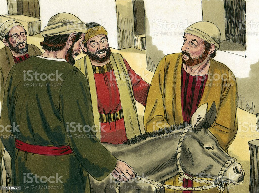 Disciples Find Donkey royalty-free stock photo