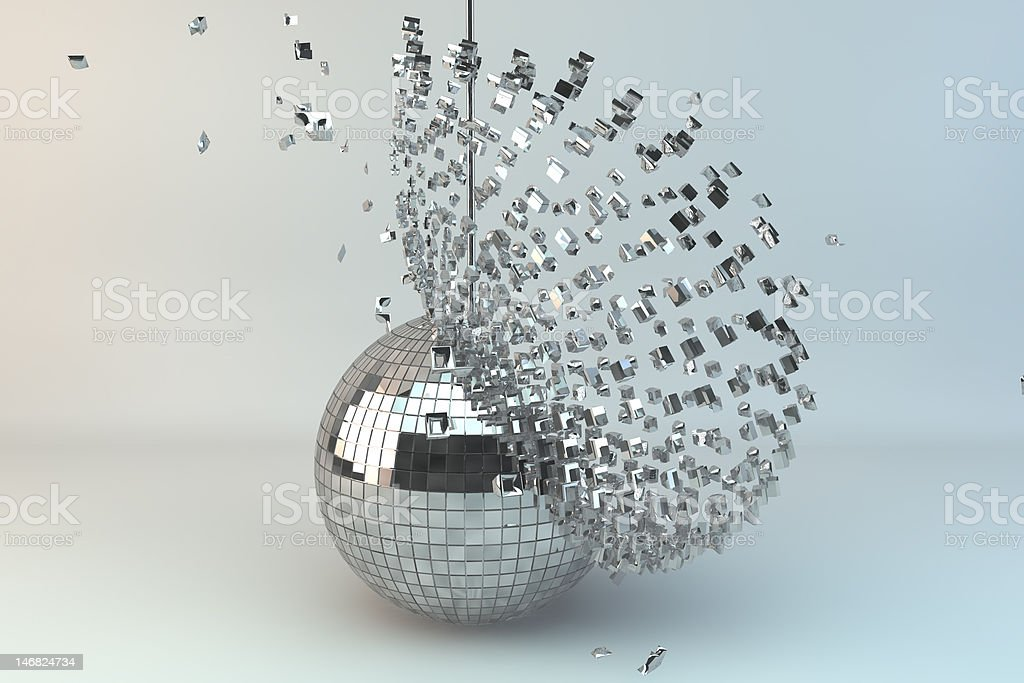 Disco ball exploding stock photo
