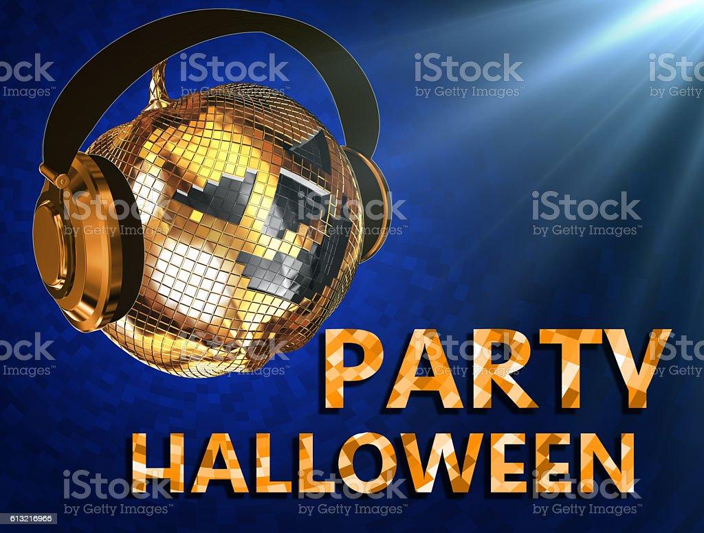 Disco ball halloween pumpkin with headphones.Party.Blue stock photo