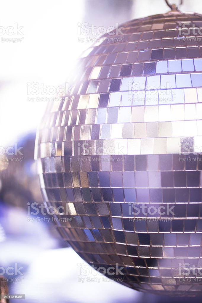 Disco ball in Ibiza house music party night club stock photo