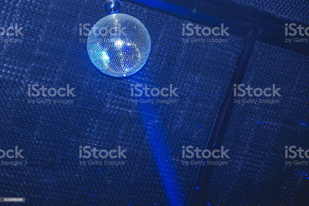 Disco ball in the nightclub stock photo