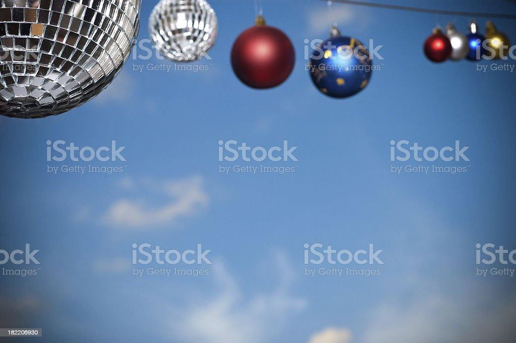disco ball on sky background stock photo