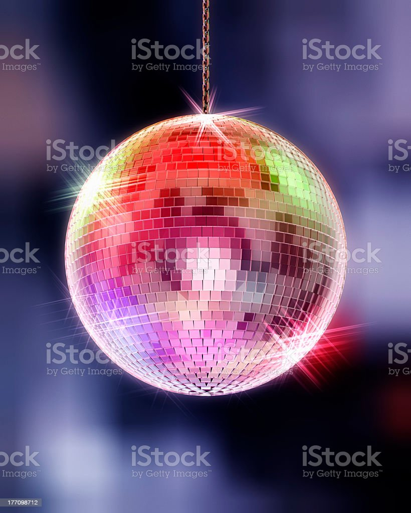 Disco ball with highlights and out of focus background stock photo