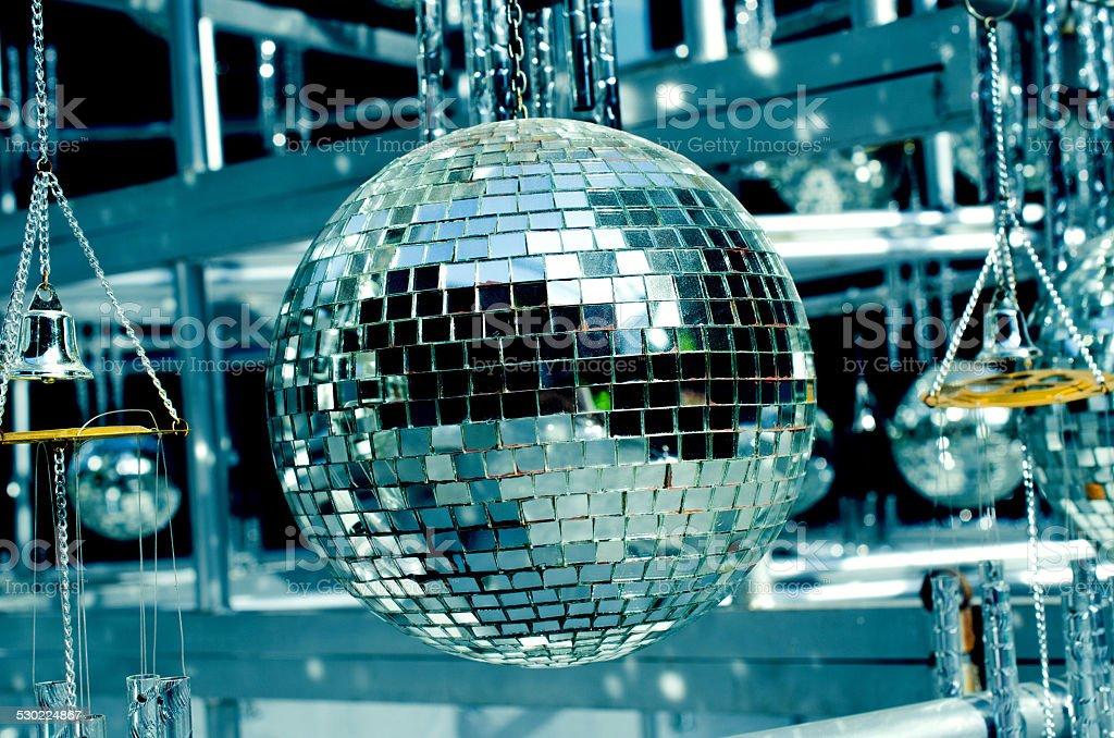 Disco balls background with mirror balls stock photo