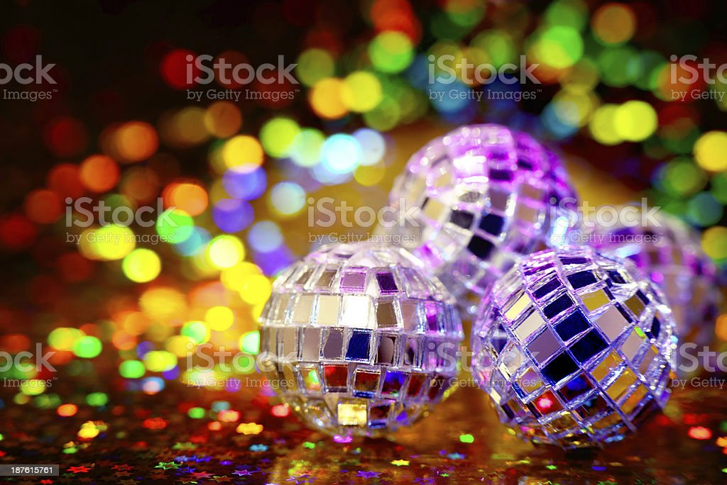 Disco Balls with party lights and copy space stock photo