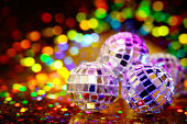 Disco Balls with party lights and copy space