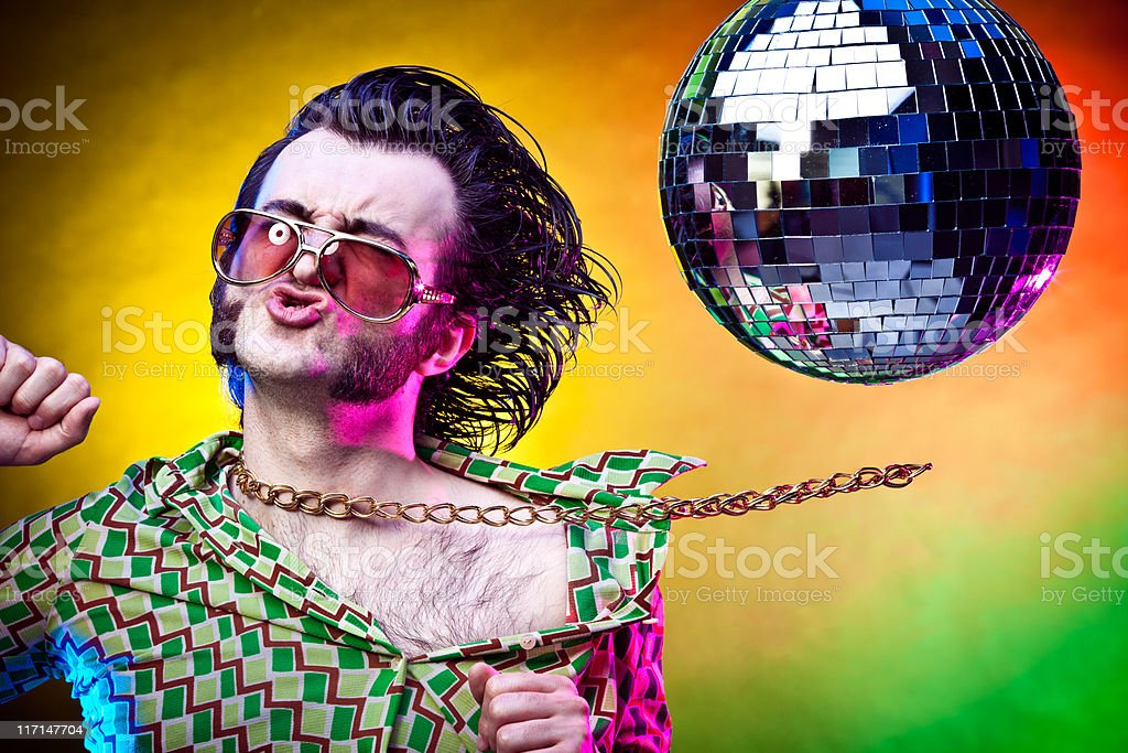 disco dancing vintage man making a face at party royalty-free stock photo