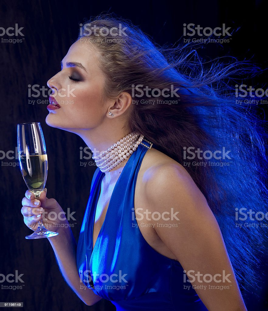Disco girl in blue. royalty-free stock photo