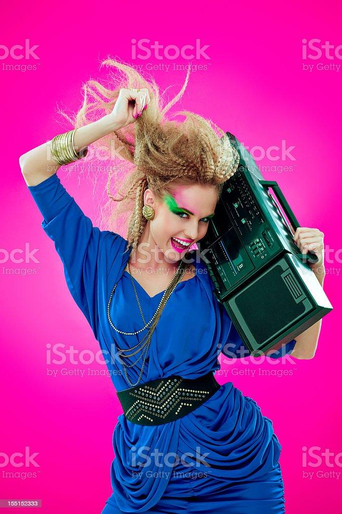 Disco Girl with Boombox stock photo