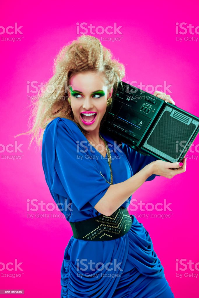 Disco Girl with Boombox royalty-free stock photo