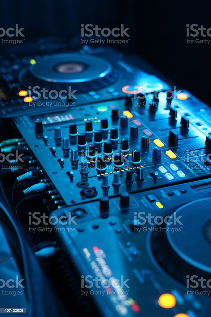 Disco jockey sound system table royalty-free stock photo