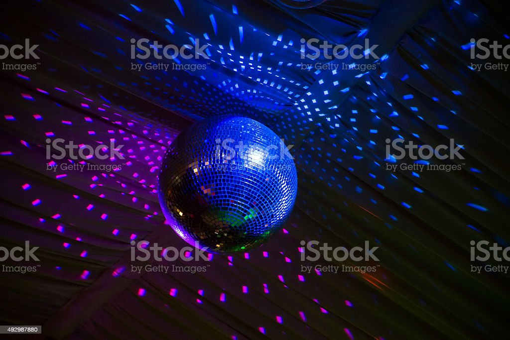 Disco mirror ball for night party stock photo