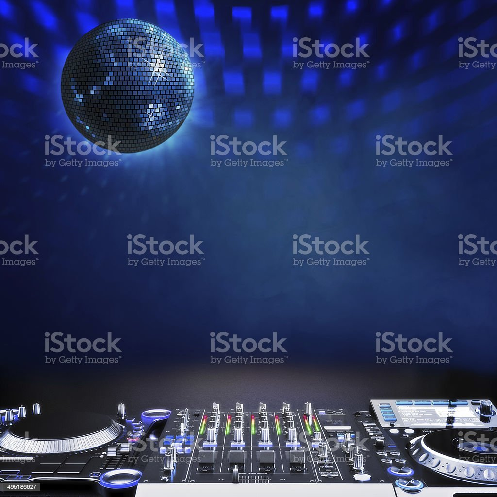 Disco music stage advertisement background stock photo