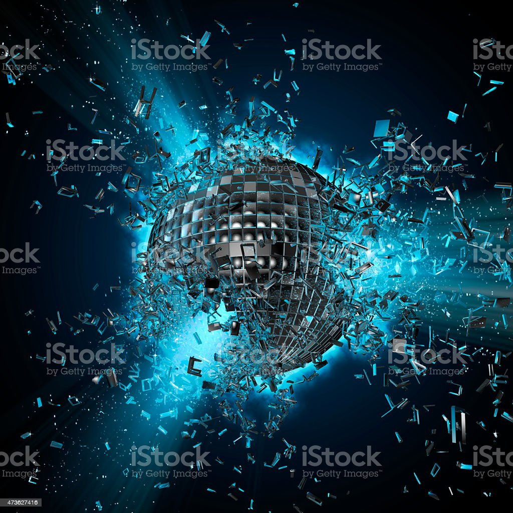 Disco planet explosion stock photo