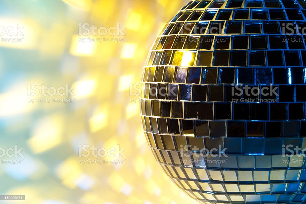 Disco sphere with colored spot lights royalty-free stock photo