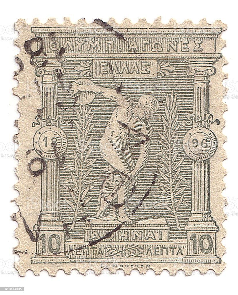 Discobolus stamp c. 1896 stock photo