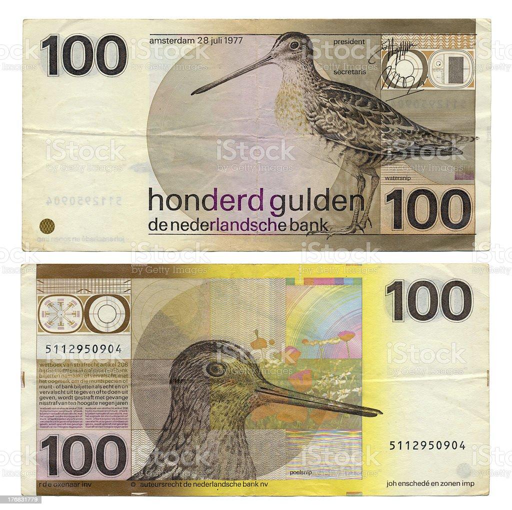 Discontinued Dutch Money - 100 Gulden stock photo