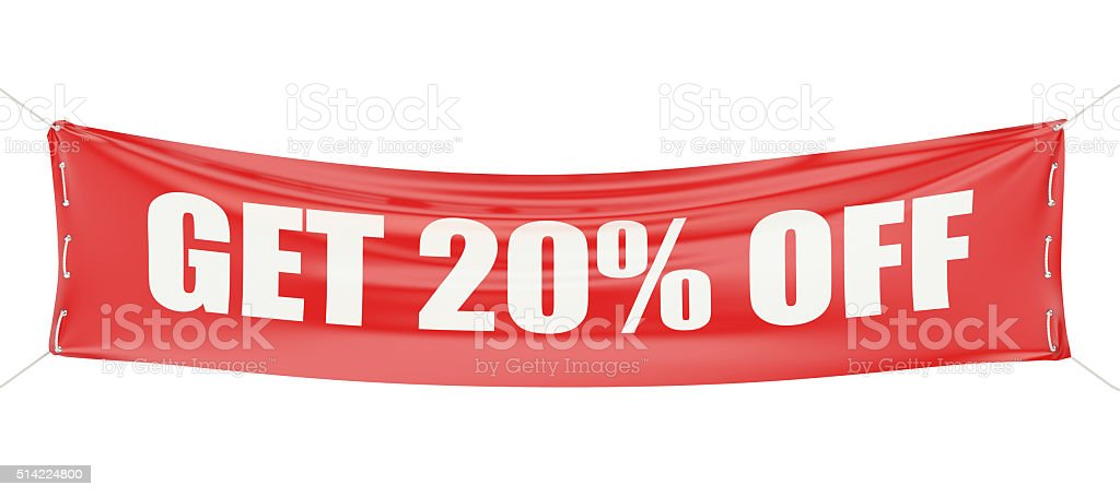 discount 20 %  concept stock photo