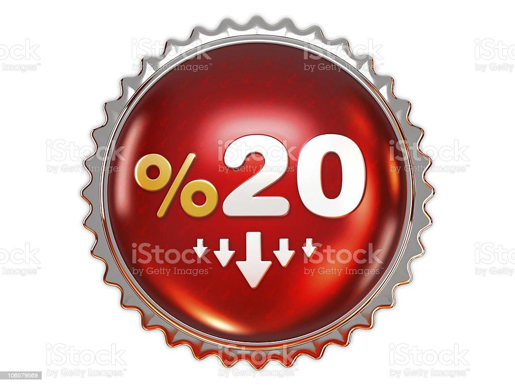 Discount badge 20% royalty-free stock photo