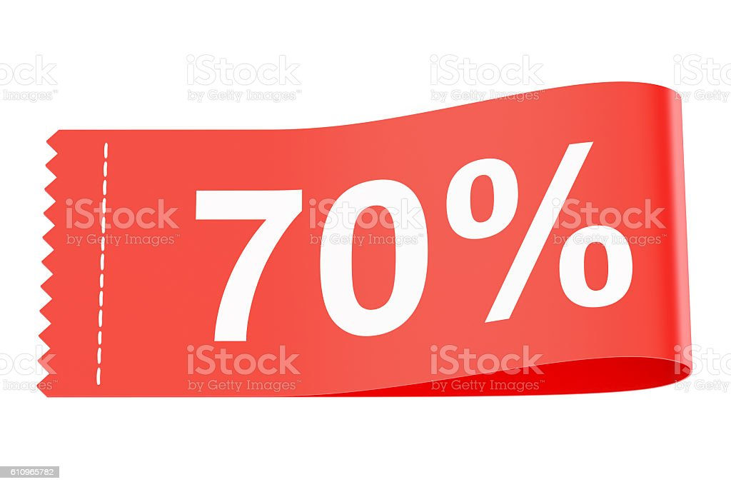 70% discount clothing tag, 3D rendering stock photo