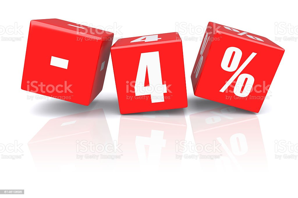 4% discount cubes on a white stock photo