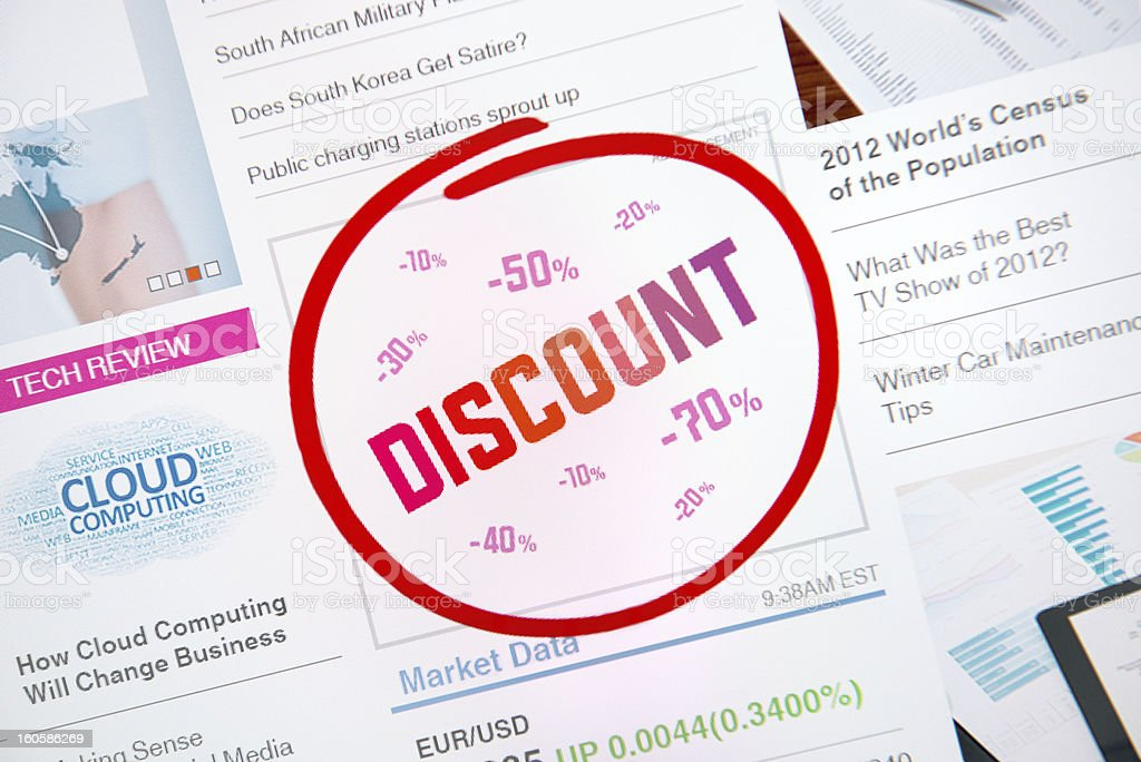 Discount internet advertisement royalty-free stock photo